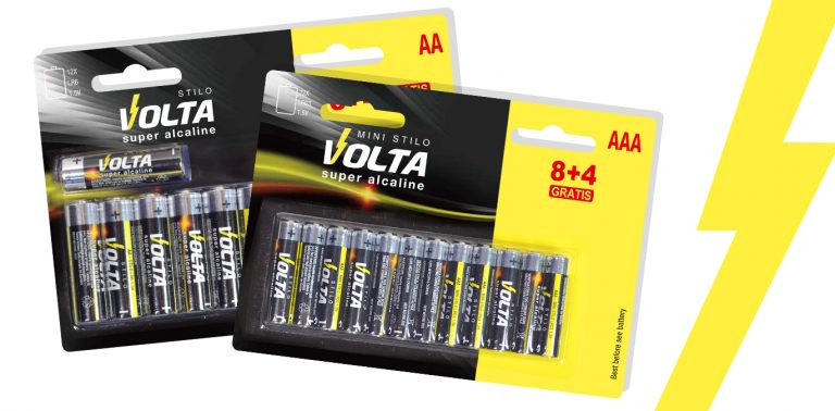 branding batterie volta prodotto logo grafica packaging espositori