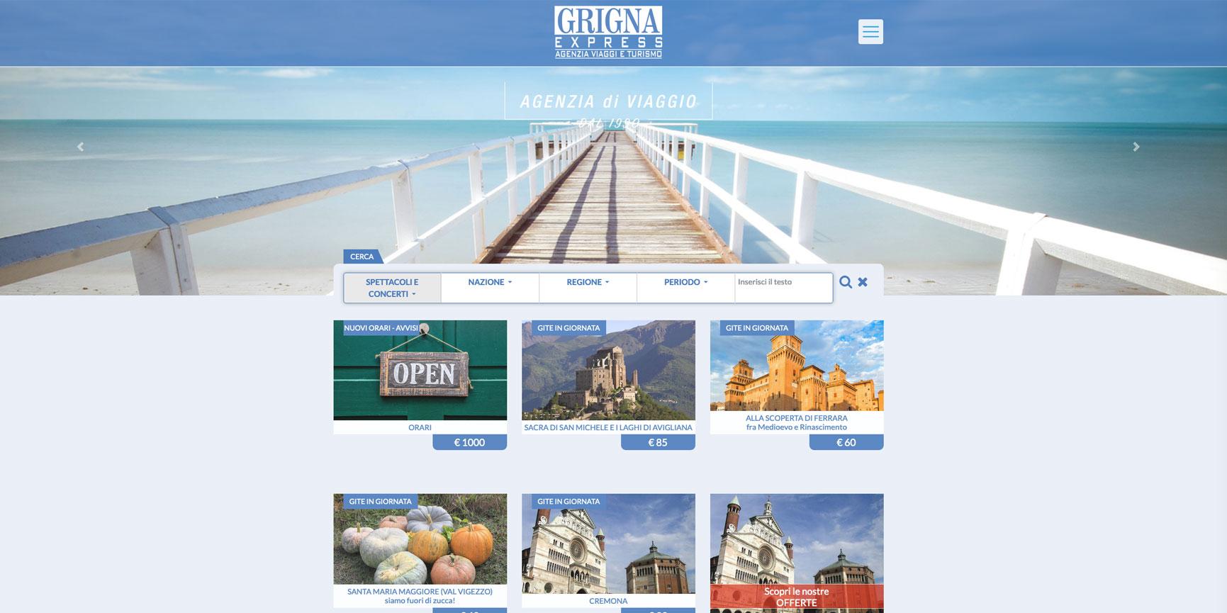 web sito internet grigna express agenzia viaggi turismo vacanze pacchetti